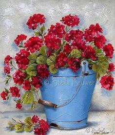 Art by Stella Bruwer blue enamel bucket red geraniums Art Floral, Vasos Vintage, Stella Art, Red Geraniums, Pintura Country, Decoupage Vintage, Painting Inspiration, Flower Art, Beautiful Flowers