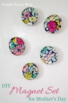 DIY Magnet Set for Mother's Day - Family Focus Blog - Make a beautiful set of decorative magnets for Mom for Mother's Day - Glass Gem Magnet Set