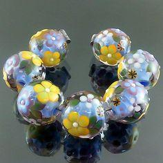 PIKALDA=handmade lampwork 7 glass beads flower blossom=COOL GARDEN=SRA
