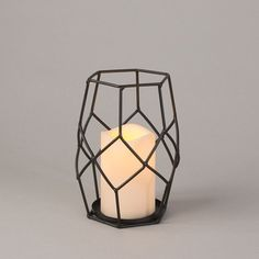 Metal Wire Geo Lantern w/ Candle - Sm