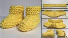 Sarı Renkli Çocuk Patik Yapımı Resimli Gösterim İle