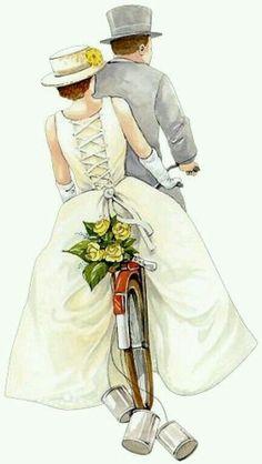 bride and groom on bicycle Wedding Art, Wedding Images, Wedding Pictures, Wedding Clip, Wedding Couples, Vintage Pictures, Vintage Images, Wedding Illustration, Image 3d