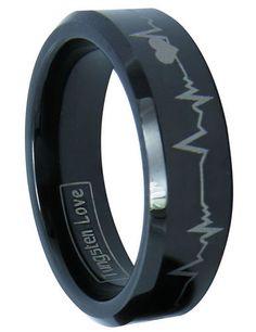 8MM Laser Engraving Black Tungsten Mens Wedding Band Ring- ummm yes cardiac rhythm strip on my husbands ring....I am a cardiac nurse after all :)