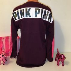 NEW PINK VS BIG LOGO BACK CREWNECK SWEATSHIRT PINK VICTORIA'S SECRET SWEATSHIRT  CREW NECK SWEATSHIRT WITH BIG LOGO IN THE BACK (HOLOGRAPHIC), WITH A GREAT DETAIL ON BOTH SLEEVES!!!  GORGEOUS PIECE!!!    COLOR MAROON   SIZE XS (OVERSIZED)   FAST SHIPPING!!!      Check out my other items! I am sure you will find something that you will love it! Thank you for watch!!!!!   Be sure to add me to your favorites list! PINK Victoria's Secret Tops Sweatshirts & Hoodies