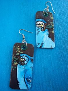 Hipster Birds - Moustache blue jay hand-painted silver earrings $34.00