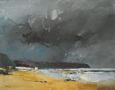 x Box Canvas Stormlight and a dark sky on the East Yorkshire coast Watercolor Landscape, Abstract Landscape, Landscape Paintings, Oil Paintings, Oil Painting On Canvas, Painting Frames, Portfolio Images, Dark Skies, Ciel