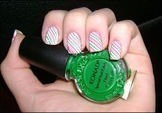 Konad Addict: Christmas manicure: Green and red canes #prom nail art
