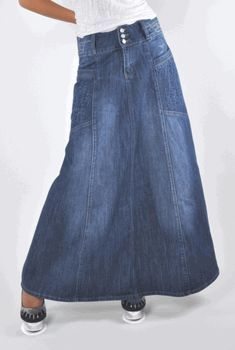Western denim skirts long