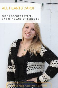 All Hearts Cardi by Skeins and Stitches Co. Beautiful crochet cardigan. Quick Crochet pattern for women. Womens winter cardigan. Lovely Spring cardigan for her. Free crochet pattern. #crochet #crochetpattern #freecrochet Quick Crochet Patterns, Free Crochet, Crochet Designs, Crochet Cardigan, Crochet Jacket, All Heart, Winter Cardigan, Beautiful Crochet, Double Crochet