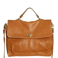 """As seen on Helena of Brooklyn Blonde! 13″ long by 10.5″ high by 5"""" wide 4″ shoulder drop (on handle) 17″ to 20"""" adjustable strap Interior zipped pocket with two accessory pouches Gold-toned hardware 100% Genuine Italian Leather Made in New York City Available Colors: Tan, Black Mustard, Cream"""
