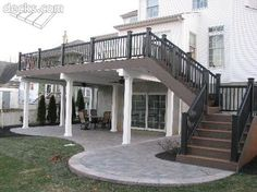 A Patio Deck Design will add beauty to your home. Creating a patio deck design is an investment that will […] Patio Under Decks, Decks And Porches, Back Patio, Backyard Patio, Front Porches, Diy Patio, Desert Backyard, Patio Deck Designs, Patio Design