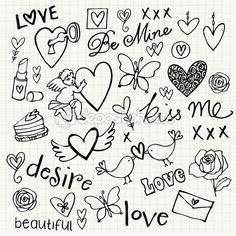 Liefde doodle vector set — Stockillustratie #49205127