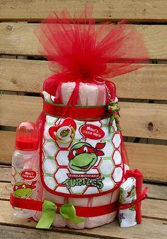 Blue Leonardo TMNT Teenage Mutant Ninja Turtles Baby Boy Diaper Cake. Gift! Baby  Shower Centerpiece Decor Super Hero Mommyu0027s Little Ninja