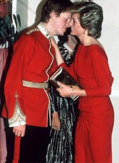 Princess Diana greets her brother Earl Spencer on arrival at the At The Birthright Red Ball In London.