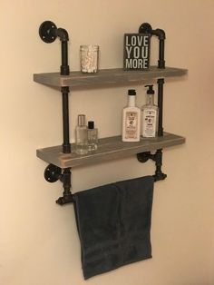 Bathroom shelf with towel rack 2 shelves Rustic Reclaimed Wood Industrial Pipe Industrial Shabby Chic Steampunk Hampton Industrial Pipe Shelves, Industrial Bathroom, Industrial Chic, Industrial Design, Pipe Shelving, Vintage Industrial, Steampunk Bathroom Decor, Galvanized Pipe Shelves, Rustic Bathrooms