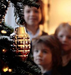 STRANGE MILITARY CHRISTMAS ITEMS - INTERESTING CHRISTMAS TREE ORNAMENT - HAND GRENADE BULB