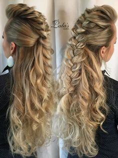 Add some extra single braids with metal beads, a more finished end and slightly wilder, less 'perfect' quality hair and you've got a perfect warrior/ranger/dwarven woman hairstyle Cute Braided Hairstyles, Pretty Hairstyles, Wedding Hairstyles, Wild Hairstyles, Viking Hair, Medieval Hair, Hair Shows, Grunge Hair, Prom Hair