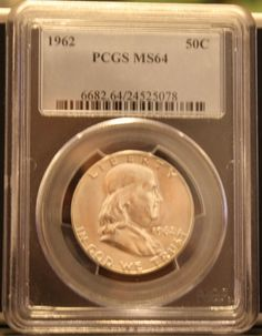 1962 Franklin Half Dollar PCGS MS64 50C Silver Coin by KCoins, $44.00