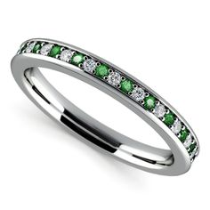 0.78 Ct Natural Diamond Natural Emerald Eternity Band 14K White Gold Size 6.5 7 #Elitediamonds #SolitairewithAccents #Engagement