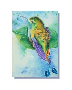 ACEO Original Watercolor Booted Racket Hummingbird Bird Painting #ebay #aceo #painting #miniature #like2