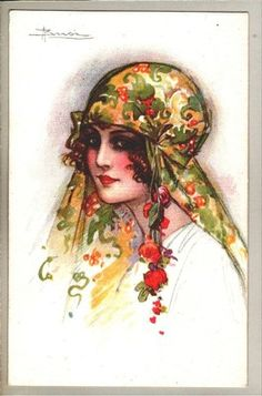 Art Sign Busi Art Deco Lady w Great Eyes Head Scarf Postcard 1920s Italy | eBay