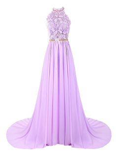 Dresstells Women's Long Halterneck Chiffon Prom Dress A-line Evening Dress Party Dress with Embroidery: Amazon.co.uk: Clothing
