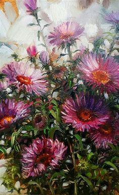 "Daily Paintworks - ""Symphyotrichum novi-belgii"" - Original Fine Art for Sale - © Natali Derevyanko"