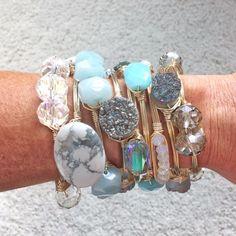 Turquoise, white, & silver bangles.