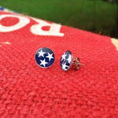 TriStar Tennessee State Flag post earrings by artisticicing