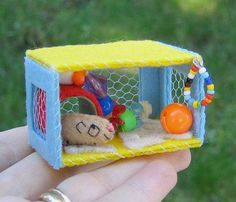 Guinea pig plush miniature felt  play time hutch with tiny stuffed guinea pig
