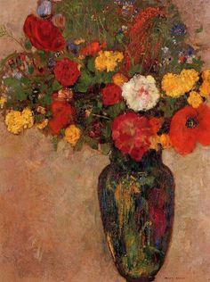 arsvitaest: ca 1910Odilon Redon (French, 1840-1916) ~Vase of Flowers;Oil on cardboard
