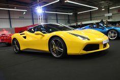 Ferrari 488 GTB Exotic Sports Cars, Exotic Cars, Yellow Car, Ferrari Car, Gas Pumps, Car Shop, Amazing Cars, Hot Cars, Concept Cars