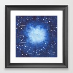 Cosmic Horoscope Framed Art Print #space #zodiac #signs #horoscope #universe #galaxy #nebula #stars #constellations #watercolor #painting #night #buy #buyonline #shopping #giftidea #present #cosmic #cosmos #society6 #buyart