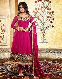 Pink Faux Georgette Zardosi Work Anarkali Salwar Kameez 26206