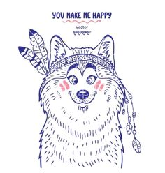 Husky cute vector. You make me happy - by Julija on VectorStock®