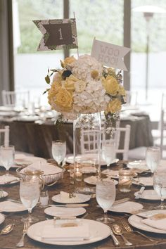 #table-numbers, #centerpiece, #flag  Photography: John Park Photography - johnparkphoto.com Wedding Planning: Dusty Rose Events - dustyroseevents.com Floral Design: Milieu Florals - facebook.com/pages/Milieu-Florals/260648357308958  Read More: http://www.stylemepretty.com/2012/05/25/los-angeles-wedding-at-the-skirball-cultural-center-by-john-park-photography/