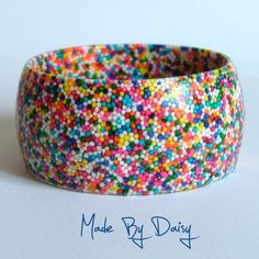 I LOVE SPRINKLES!  Resin Bangle Bracelet Hundreds and Thousands Rainbow Cake Sprinkles Sweets