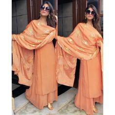 Orange faux georgette plazzo suit