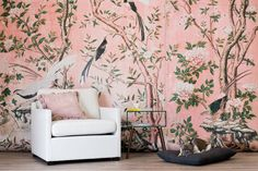 Anewall's pastel pink Magnolia Mural adds a touch of femininity to your walls. The mural comes with 6 panels. This beautiful garden wallpaper decor features exotic birds nestled in the tree branches. Absolutely beautiful for your walls! Pink Wallpaper For Walls, Garden Wallpaper, Pastel Pink Wallpaper, Hand Painted Wallpaper, Paper Wallpaper, Wallpaper Decor, Retro Wallpaper, Bathroom Wallpaper, Pink Wallpaper Living Room