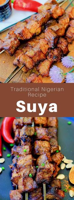 Nigeria: Suya - 196 flavors - Authentic World Cuisine Website - African Food Nigeria Food, Cameroon Food, Beef Recipes, Cooking Recipes, West African Food, European Cuisine, Grilled Beef, Good Food, Food Porn