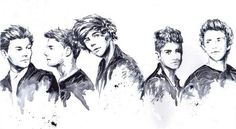 Harry Styles, Louis Tomlinson, Liam Payne, Niall Horan, Zayn Malik One Direction Drawing One Direction Fan Art, One Direction Drawings, Disney Princess Tattoo, Walpaper Black, Drawing Reference Poses, Disney Fan Art, Manga, Cartoon Drawings, Cool Bands