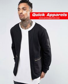 http://www.quickapparels.com/jersey-bomber-jacket-with-woven-pocket-gold-zips.html