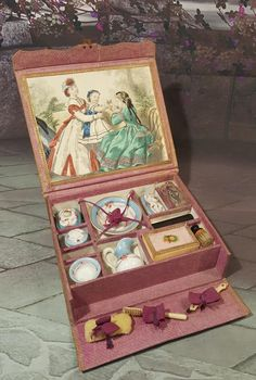 Beautiful early french Toilette-Set all original napoleon 3 PARIS from lovelyoldthings on Ruby Lane