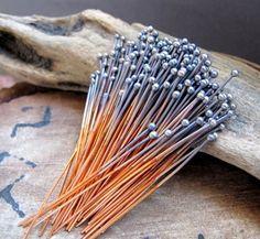 Bulk set of Copper ball end headpins 100 pcs 22 gauge copper head pins