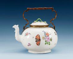A large German porcelain teapot, 18th Century.