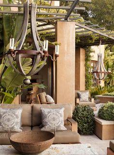Pergola and Outdoor Chandelier Outdoor Areas, Outdoor Rooms, Indoor Outdoor, Outdoor Living, Outdoor Decor, Outdoor Retreat, Backyard Retreat, Rustic Outdoor, Outdoor Kitchens