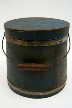 Antique Bail Handled Firkin in Original Blue Paint