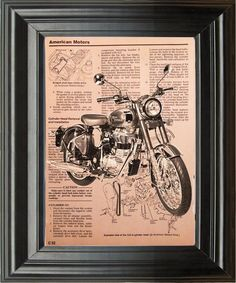 Motorcycle Recycled Book Art