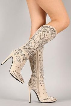 Rhinestoned Knee High Heeled Boots