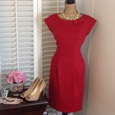 """Evan-Picone Dress Beautiful red dress by Evan Picone. Size is 8. Bust is apprx 38"""" and length is apprx 39"""". Polyester Rayon spandex mix. Dress has stretch. Very form flattering. Evan Picone Dresses Midi"""